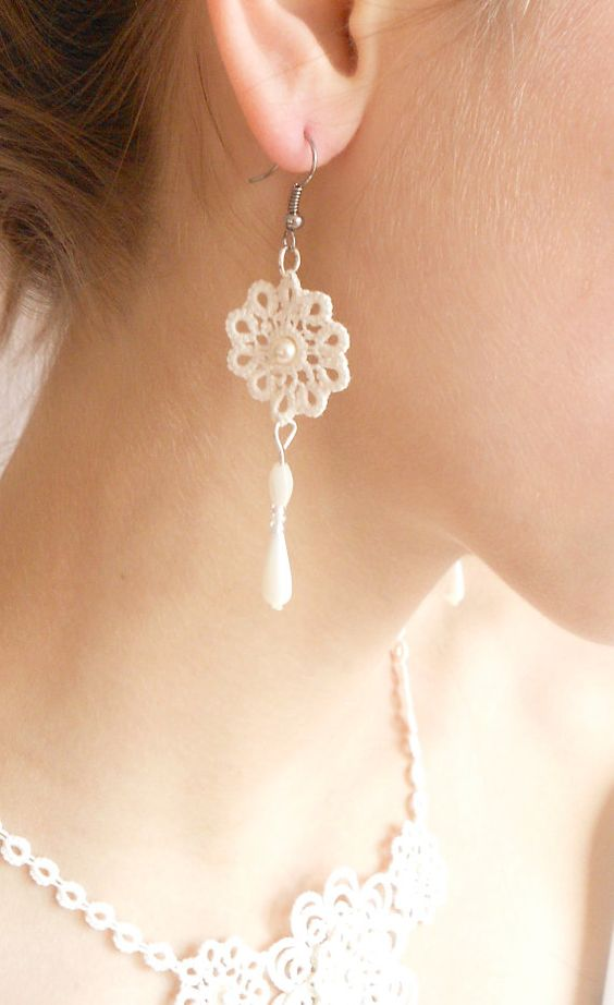 Ivory lace earrings wedding  floral  tatted  Sleeping by SILHUETTE, $20.00