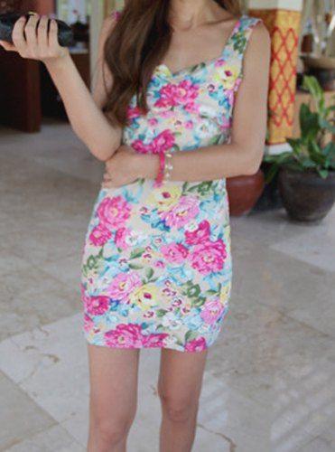 $5.81 Sexy Women's Sweetheart Neckline Floral Print Bodycon Dress
