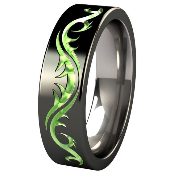 Tattoo Flat Black Colored Titanium Ring ($320) ❤ liked on Polyvore featuring jewelry, rings, accessories, dome ring, tattoo rings, carved jewelry, tattoo jewelry and carved ring