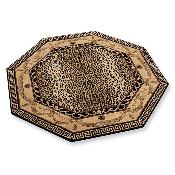 Animal Print Throw Rug: Greek Key Leopard Print Area Rugs