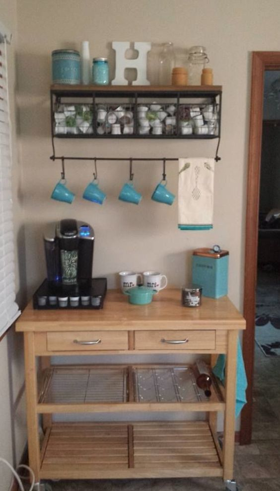 Love this idea of having a coffee bar in the kitchen for Coffee station ideas for the home