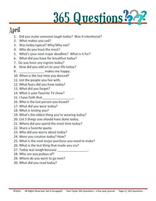 april | 365 journal questions                                                                                                                                                                                 More