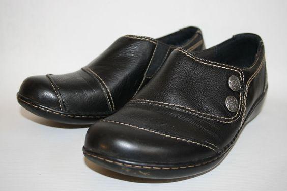 Black Clarks Fashion Designer Elegant Womans Slip on 100% Leather Shoes UK 5,5