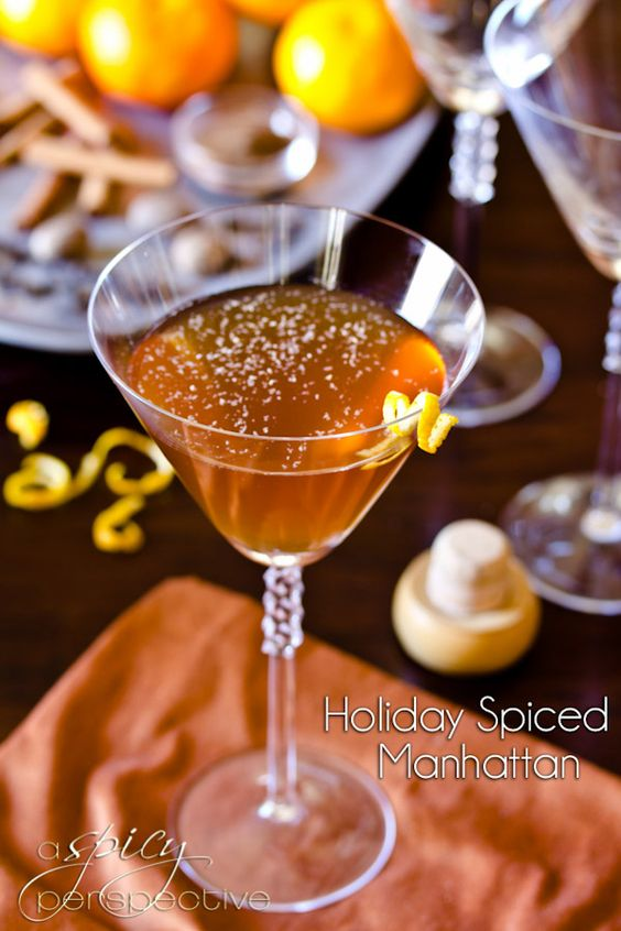 Spiced Manhattan Cocktail | ASpicyPerspective.com #cocktails #holiday: Happy Hour, Drink Recipe, Holiday Cocktail, Holiday Spiced, Manhattan Recipe, Holiday Drink, Aspicyperspective Cocktails