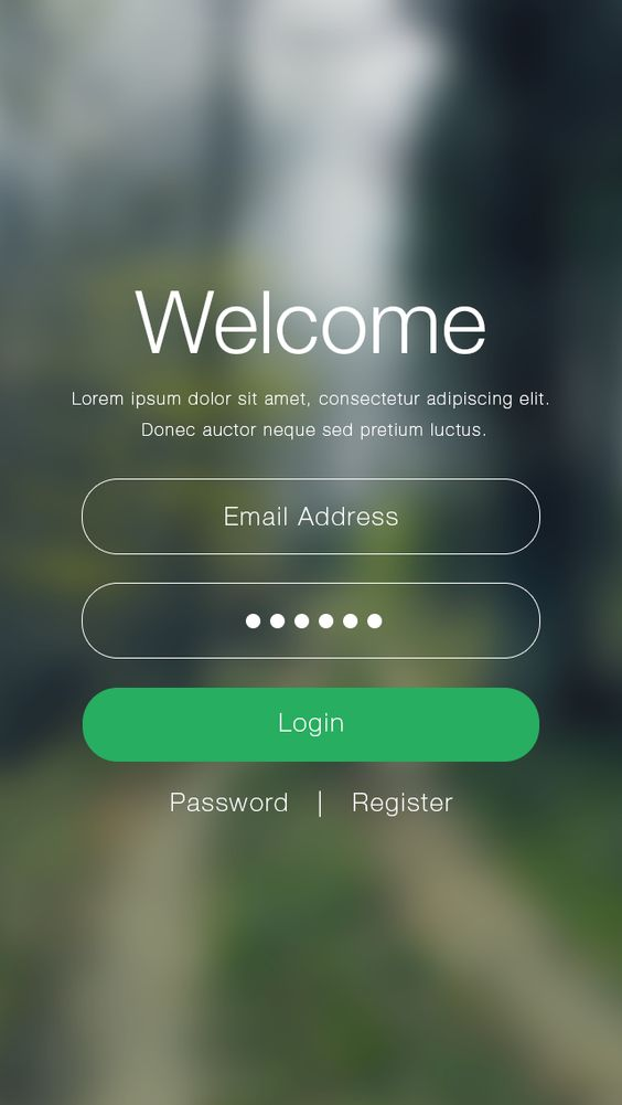 Welcome / sign in screen UI