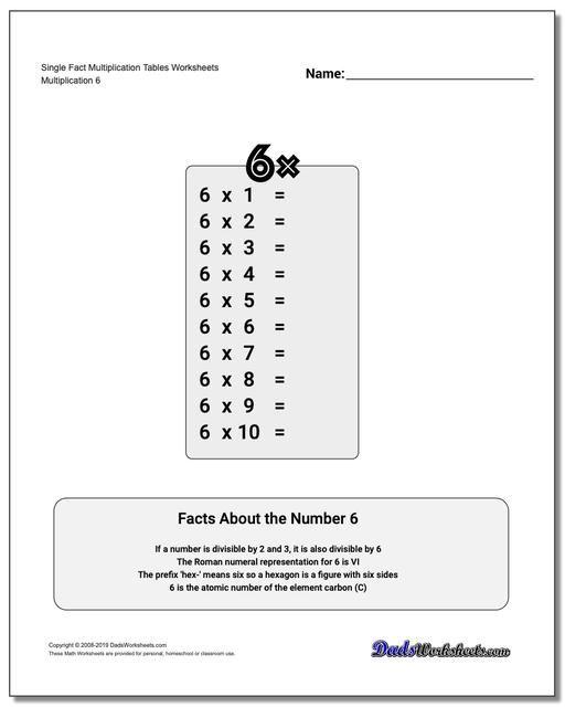 Https Www Dadsworksheets Com Single Fact Multiplication Tables Worksheet Multiplication Worksheets Multiplication Table Multiplication