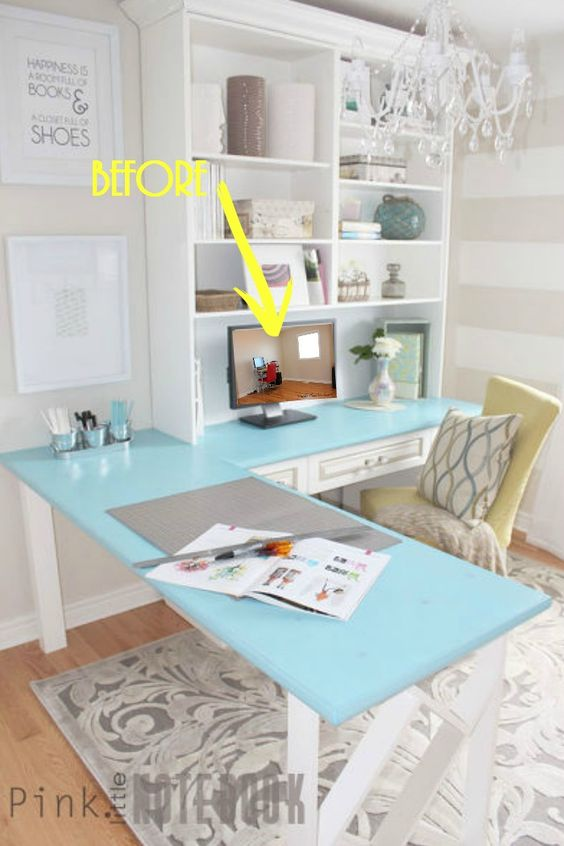 Before After A Pretty Home Office Makeover Stains