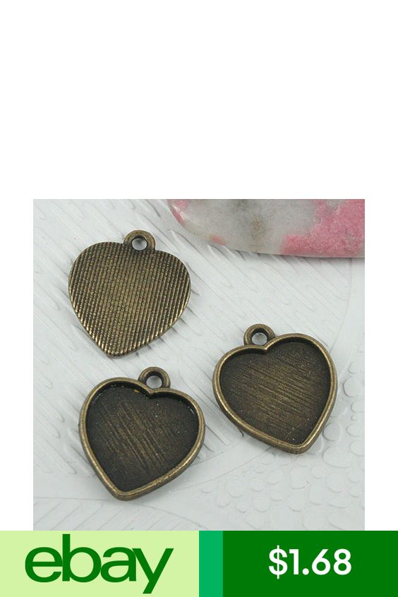 14pcs antiqued bronze tone heart cabochon settings in 19x16mm EF0603