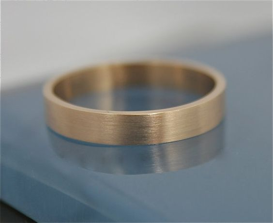 Brushed Flat Rectangle 14k Solid Yellow Recycled Gold Classic Men's 3.5mm Wedding Band Square Sides Stacking Ring Satin Finish on Etsy, $295.00