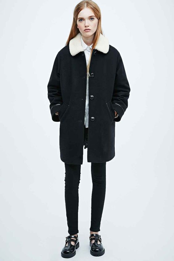 Cooperative Borg Swing Coat in Black - Urban Outfitters