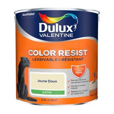 Peinture Murs Et Boiseries Dulux Valentine Color Resist Jaune Doux Satin 2 5l En 2020 Dulux Valentine Peinture Mur Et Boiseries