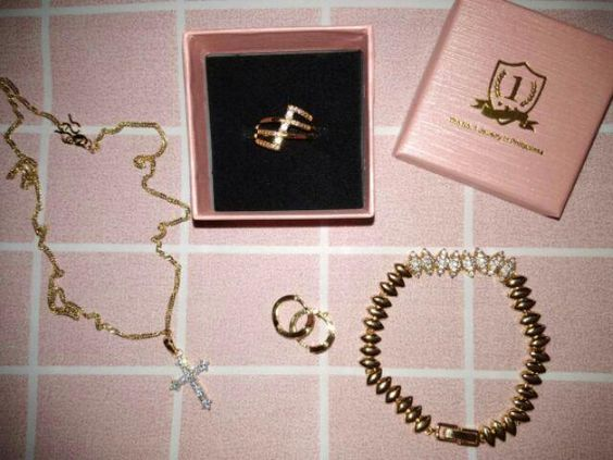 Diamante Collection 24k Gold-Plated Necklace,Bracelet,Earring,ring Set ZGN24+ZGB07+ZGE13+ZGR06