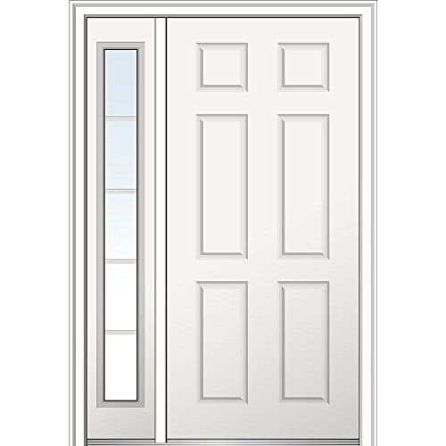 National Door Company Z021547l Craftsman 2 Panel Brighton Decorative Glass Fiberglass Smooth Primed 36 X80 Left Hand In Swing Prehung Front Door With 12 Sidel Mmi Door Front Door Exterior Front Doors