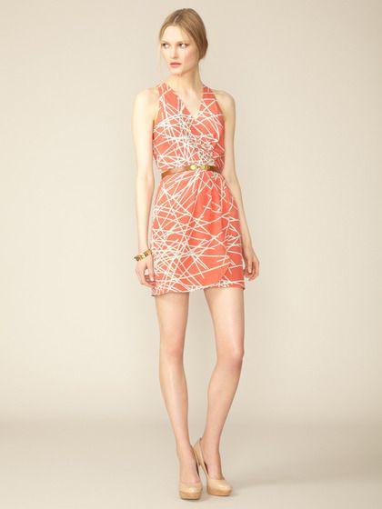 Virginia Pleated Silk Flutter Dress by Hunter Dixon on Gilt.com