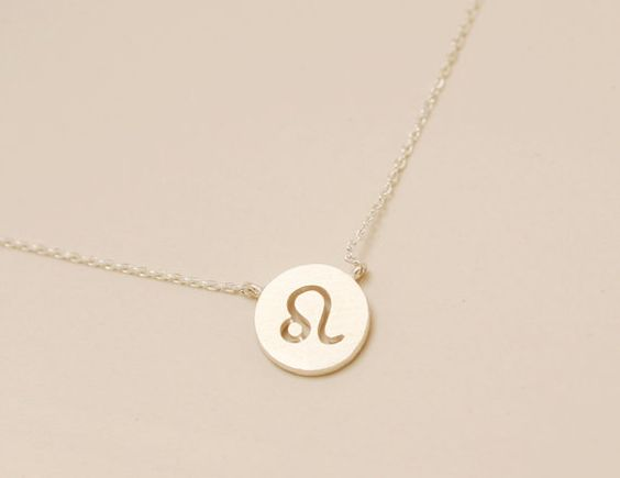 Leo.  Zodiac Sign 925 sterling silver Disc necklace. Constellation, astrology. Birthday and  wedding gift.  DoubleBJewelry.
