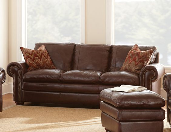 Steve Silver Yosemite Sofa in Chestnut Leather traditional-sofas