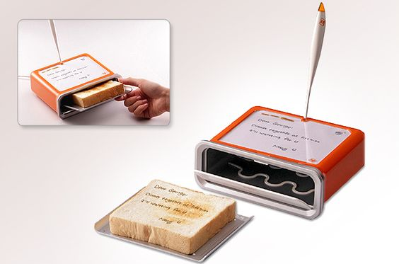 THIS IS SO AWESOME! Eat your words! This toaster by Sasha Tseng incorporates a little message board where one can write quick notes. :) SO COOL