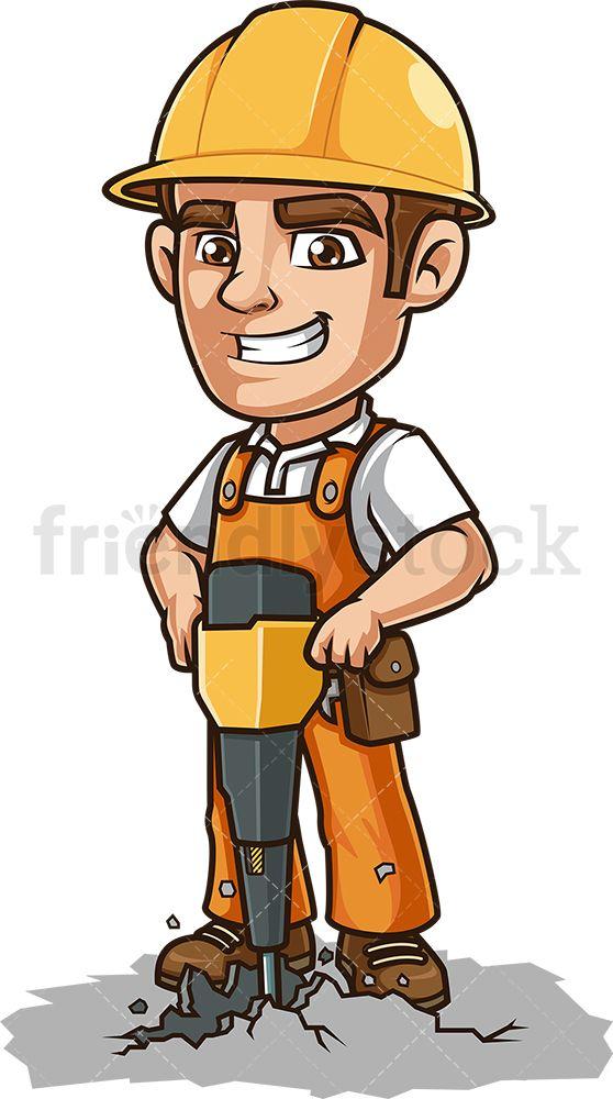 Construction Worker Using Jackhammer Cartoon Clipart Vector Friendlystock Construction Worker Cartoon Clip Art Mascot Design