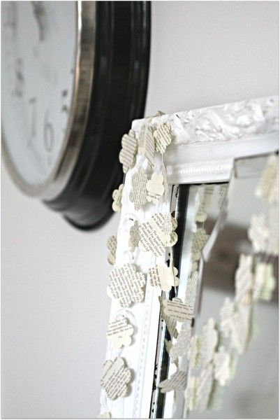 garland made from old book pages