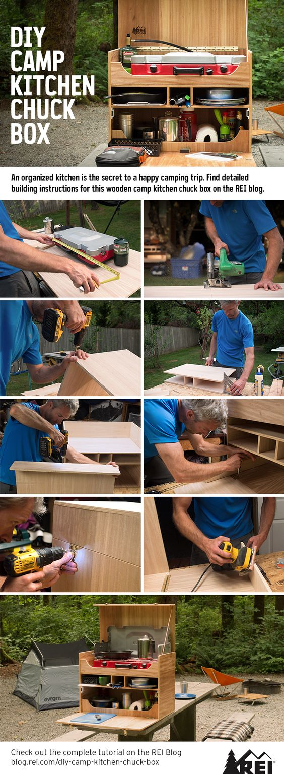 An organized kitchen is the secret to a happy camping trip. Build your own wooden camp kitchen chuck box to take to the campground!
