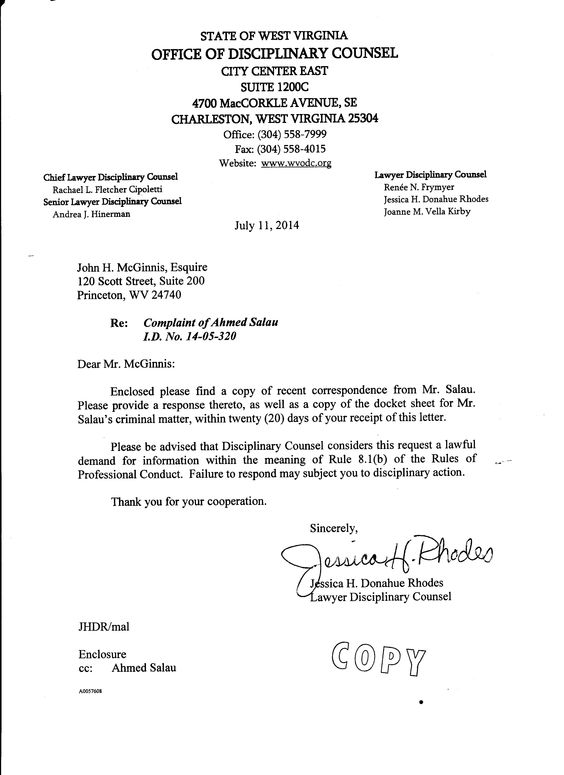 Office Of Disciplinary Counsel Letter To Scott Ash And John