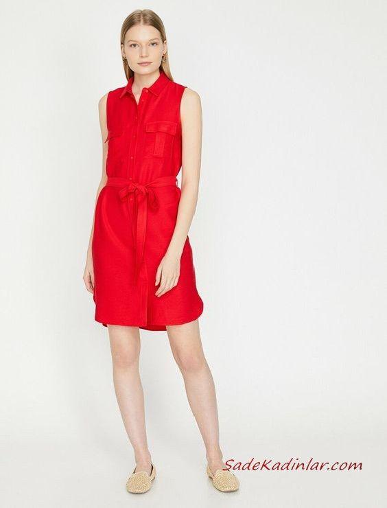 2019 Yazlik Elbise Modelleri Koton Kirmizi Kisa Kolsuz Dugmeli Belden Bagcikli Elbise Modelleri Moda Stilleri Elbise