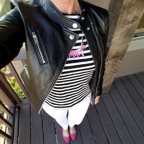 Black moto jacket, black and white Breton tee, white jeans, hot pink flats. Edgy classic fall outfit