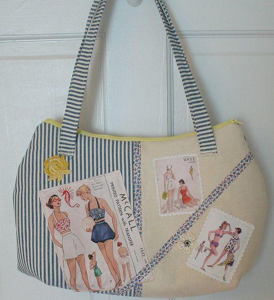 Vintage Sewing Pattern Bag Purse FREE SHIP: