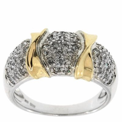 0.70 Cttw G VS Round Diamonds Cocktail Ring in 14K Two Tone Gold by GetDiamondsDirect on Etsy