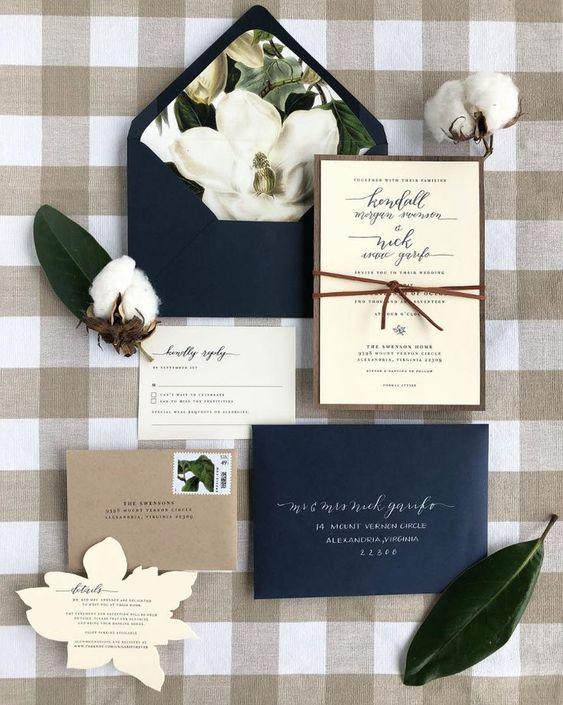 Magnolia and Cotton letterpress wedding invitations