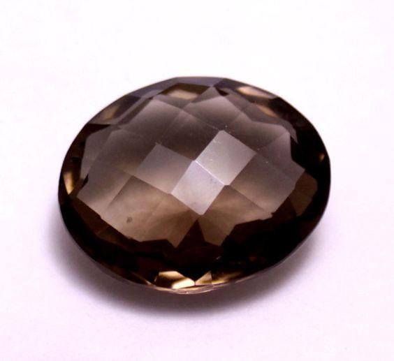 41ct Big Lustrous Natural Checkerboard Cut Smokey Quartz Loose Gemstone #krishnagemsnjewels