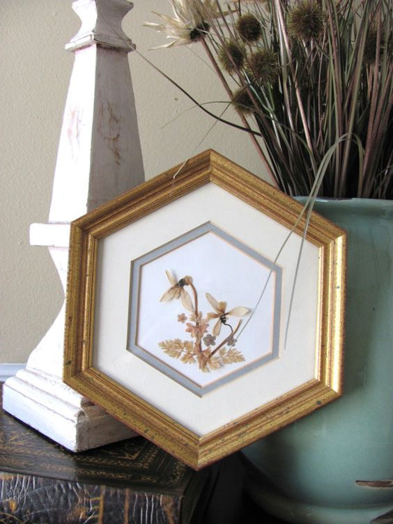 Vintage Pressed Dried Flowers Picture by RSRenewVintage on Etsy, $15.00