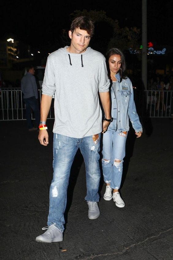 Mila Kunis and Ashton Kutcher Wore the 2018 Version of the Britney Spears and Justin Timberlake Denim Outfits | Mila Kunis and Ashton Kutcher stepped out in matching denim outfits that gave us serious Britney Spears/Justin Timberlake jean red carpet vibes. See the looks here.