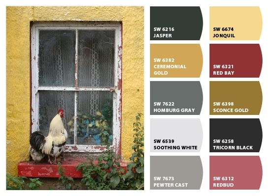 Country french rooster color palettes pinterest for Country home interior paint colors