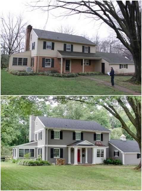 Beautiful before and after exterior remodel home makeover pinterest money home remodeling for Before and after home exteriors remodels