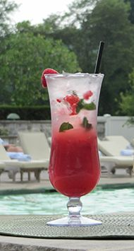"Long Island Sound - 1.5 oz Bacardi, 0.75 oz Chambord Black Raspberry, 0.75 oz Lime juice, 0.75 oz Simple syrup, 4 Raspberries, 5 Mint leaves, Splash Club soda. Combine all the ingredients (except the club soda) in a cocktail shaker, including the raspberries and mint.)  Top with ice and shake vigorously.  Pour into a wine glass.  Top with a splash of club soda and stir well. For more Omni Hotels ""Art of Water"" Poolside drinks, click through!"