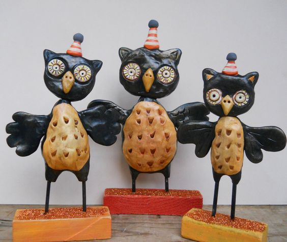 Black Halloween Owl with party hat clay folk art. $20.00, via Etsy.