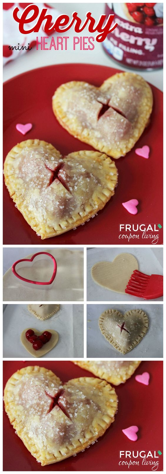 Valentines Dessert. Valentine's Day Mini Heart Cherry Pies on Frugal Coupon Living. Valentines Idea. Cherry Pie Recipe.: