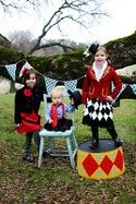 outfit ideas- classic circus colors, big and bold. photobooth idea, also