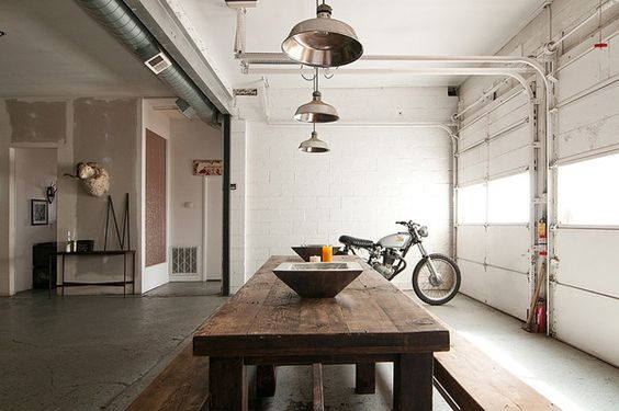 Auto garage converted into industrial chic pad