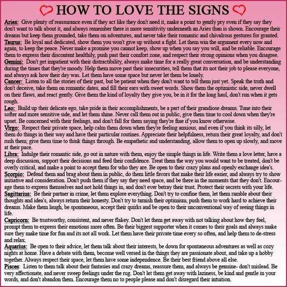 How to love the signs- These are weirdly accurate.  Yes I know they are eeeek