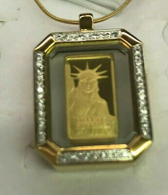 14k Yellow Gold 1 Gram Credit Suisse 999 9 Gold Bar Pendant Necklace W 40 Stones Ebay In 2020 Gold Bar Pendant Gold Bar Pendant Necklace Bar Pendant Necklace