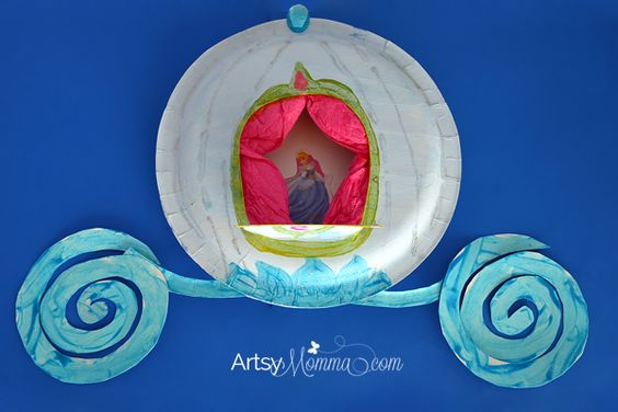Learn how to make a pretty paper plate craft inspired by the Disney princesses - Cinderella's carriage! Fun, frugal, and easy to create!: