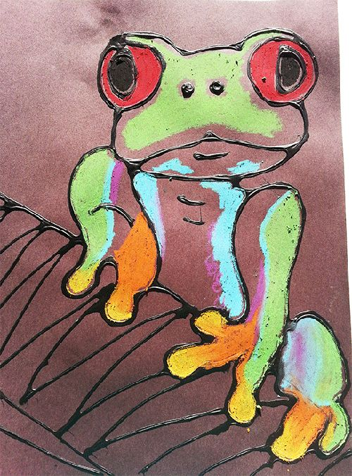 This is a fun way to build a textured canvas. Children use black glue on black construction paper to outline the frog. Then use colored oil pastels to fill him in. The results are stunning and worthy of any classroom gallery! Materials: Black Construction Paper Glue Black Paint Oil Pastels Inspiration Photo Amazon Rainforest There …