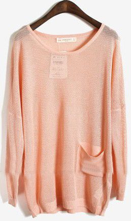 Pink Long Sleeve Batwing Hollow Pocket Pullovers Sweater
