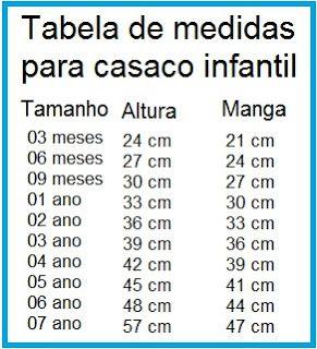 Receita de Crochê Infantil: Tabela de tamanhos para casaquinhos de bebê: