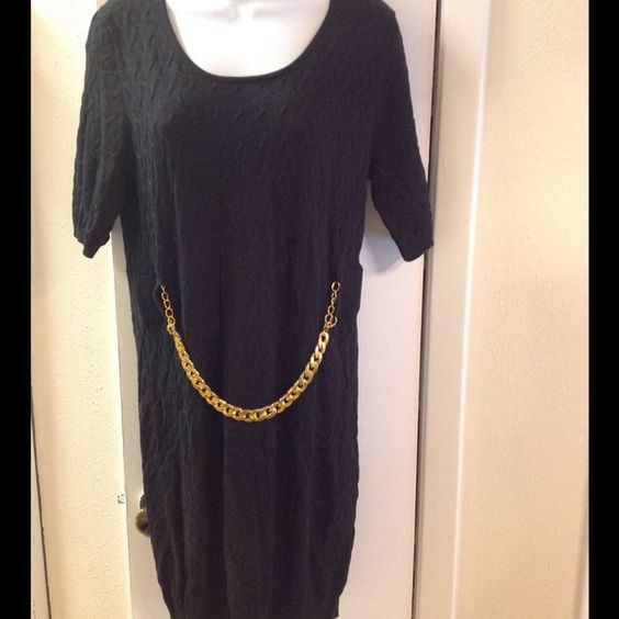 NY collection sweater dress Black knit and chain detail sweater dress NWT.size large. NY Collection Sweaters