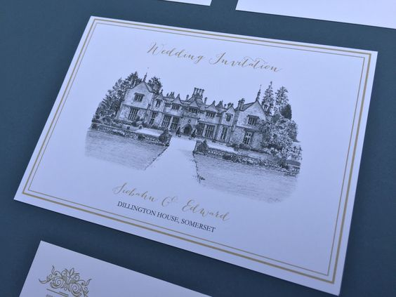 INVITATION: A sample of an invitation from our illustrated wedding stationery range featuring the amazing venue of Dillington House, Somerset, England. We specialise in sketching your venue and using it as a theme throughout the collection.. A bespoke service where we can co-ordinate with your own wedding colour theme or keep to classic white/cream/gold effect. You have a choice of font styles and wording.  Designed Exclusively for You!