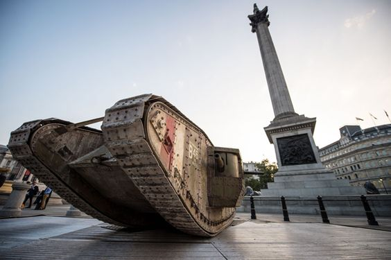 WWI Mark One tank sitting proudly in Trafalgar Square on the 100th anniversary…