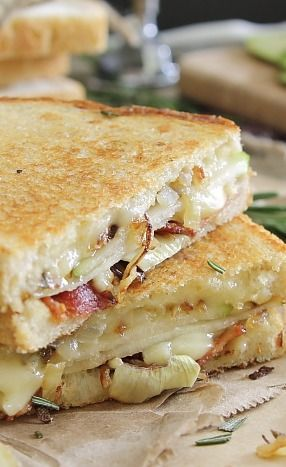 Pear, Bacon and Brie Grilled Cheese-I have to try this with gfree bread!